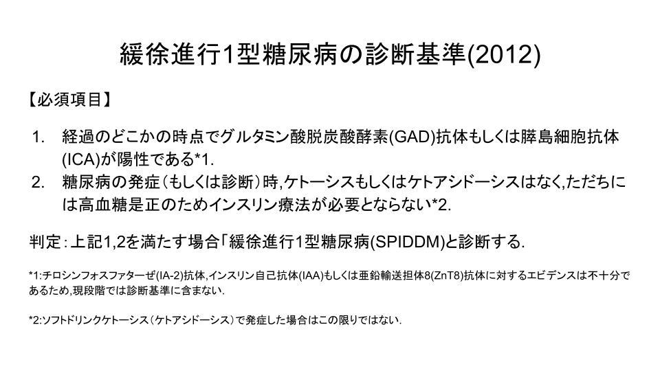 緩徐進行1型糖尿病の診断基準(2012)