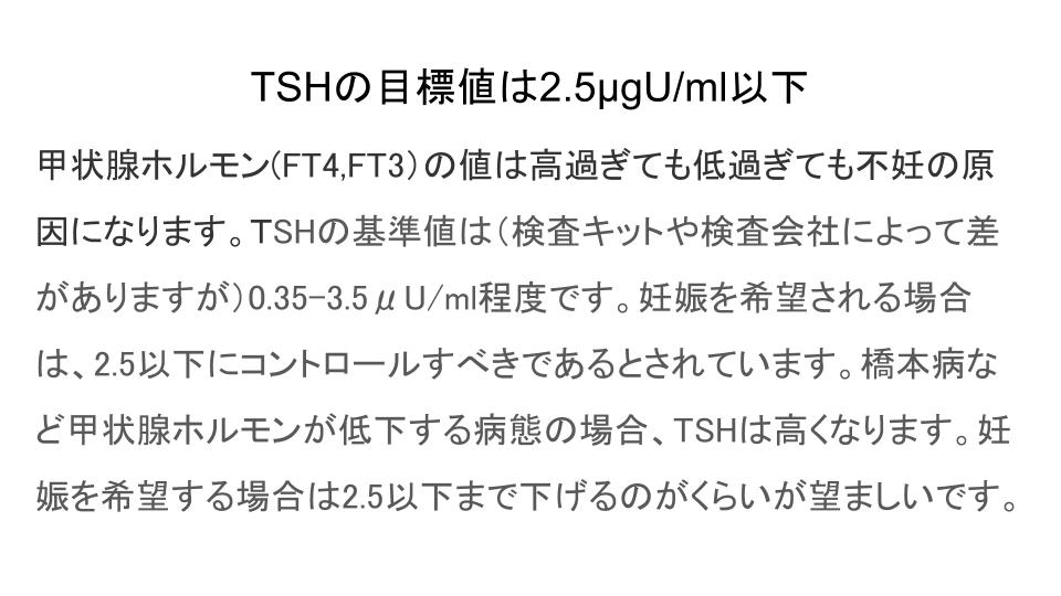 TSHの目標値は2.5μgU/ml以下